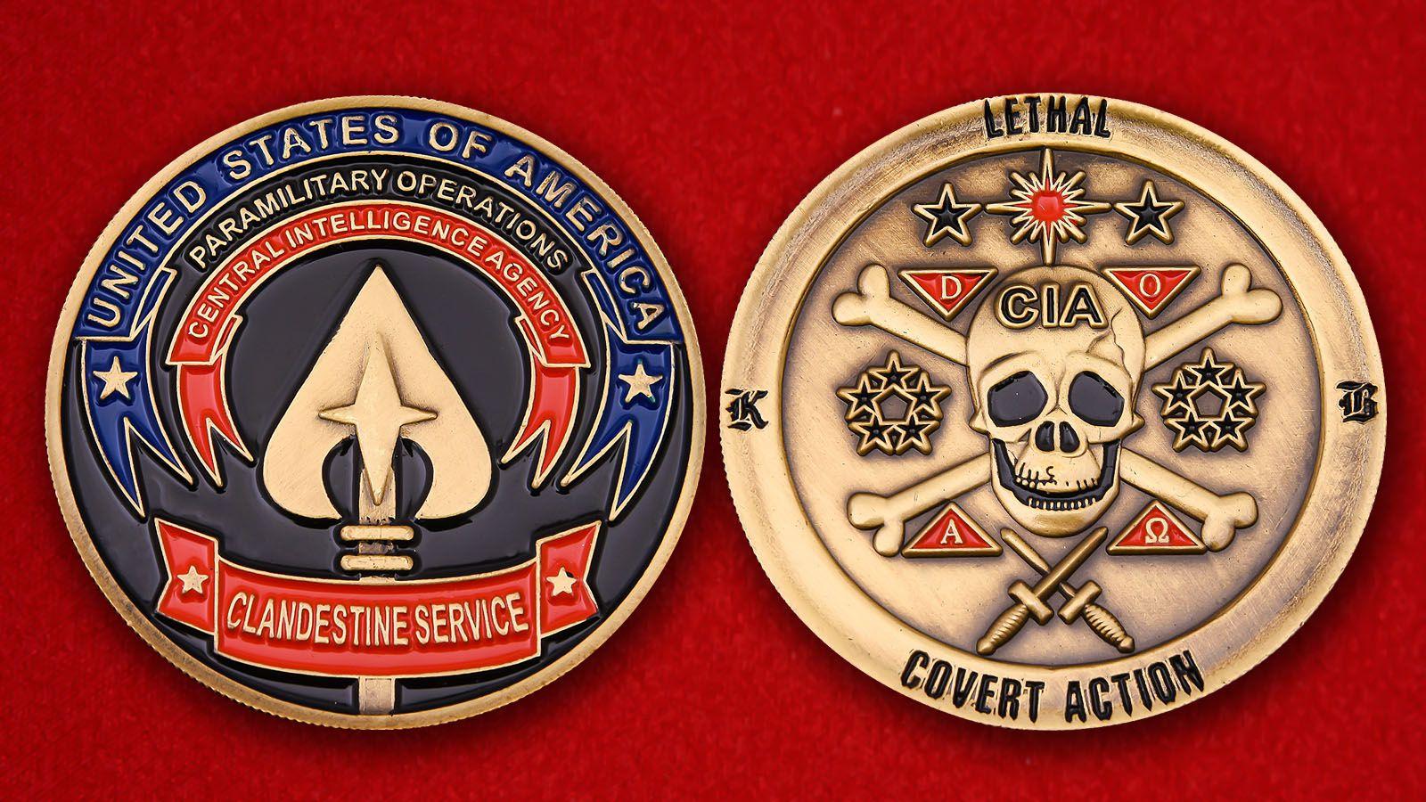 Челлендж коин Национальной Секретной службы ЦРУ - аверс и реверс