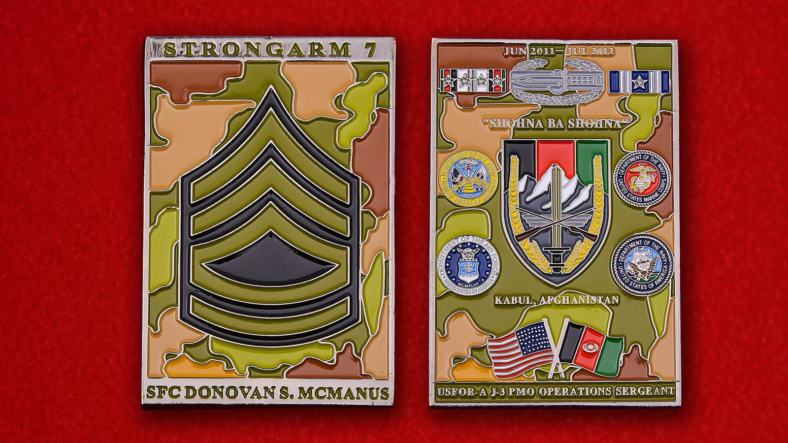 """Челлендж коин """"Сержанту Доновану Макманусу от начальника военной полиции корпуса армии США в Кабуле"""""""