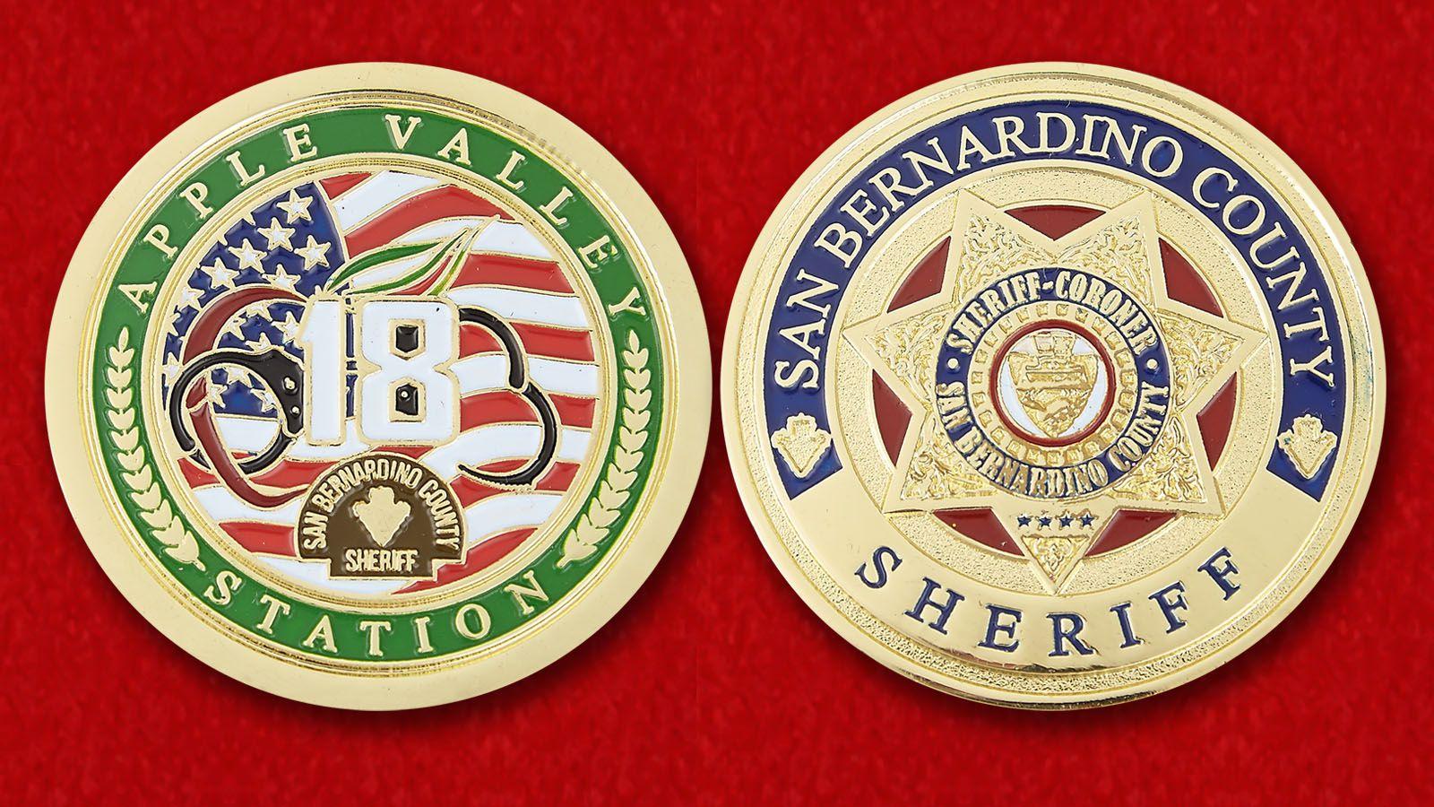 Челлендж коин Шерифа округа Сан-Бернандино - аверс и реверс