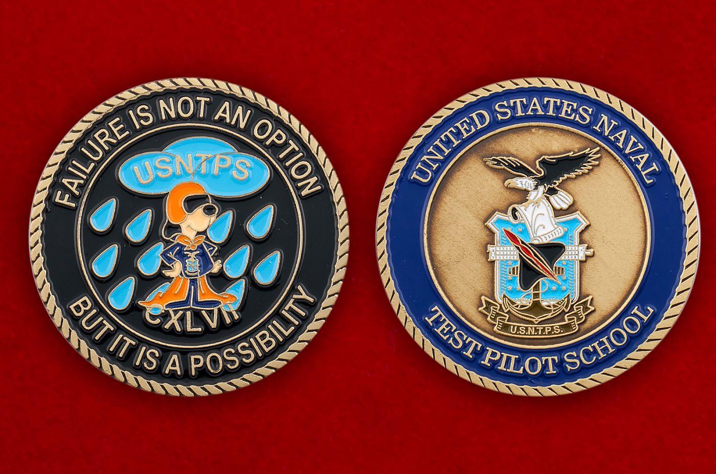 Челлендж коин школы летчиков-испытателей ВМС США - аверс и реверс