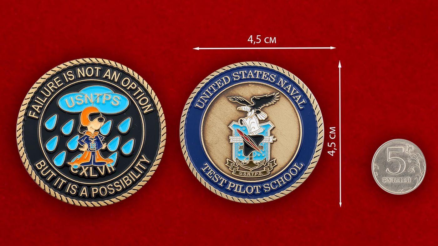 Челлендж коин школы летчиков-испытателей ВМС США - сравнительный размер
