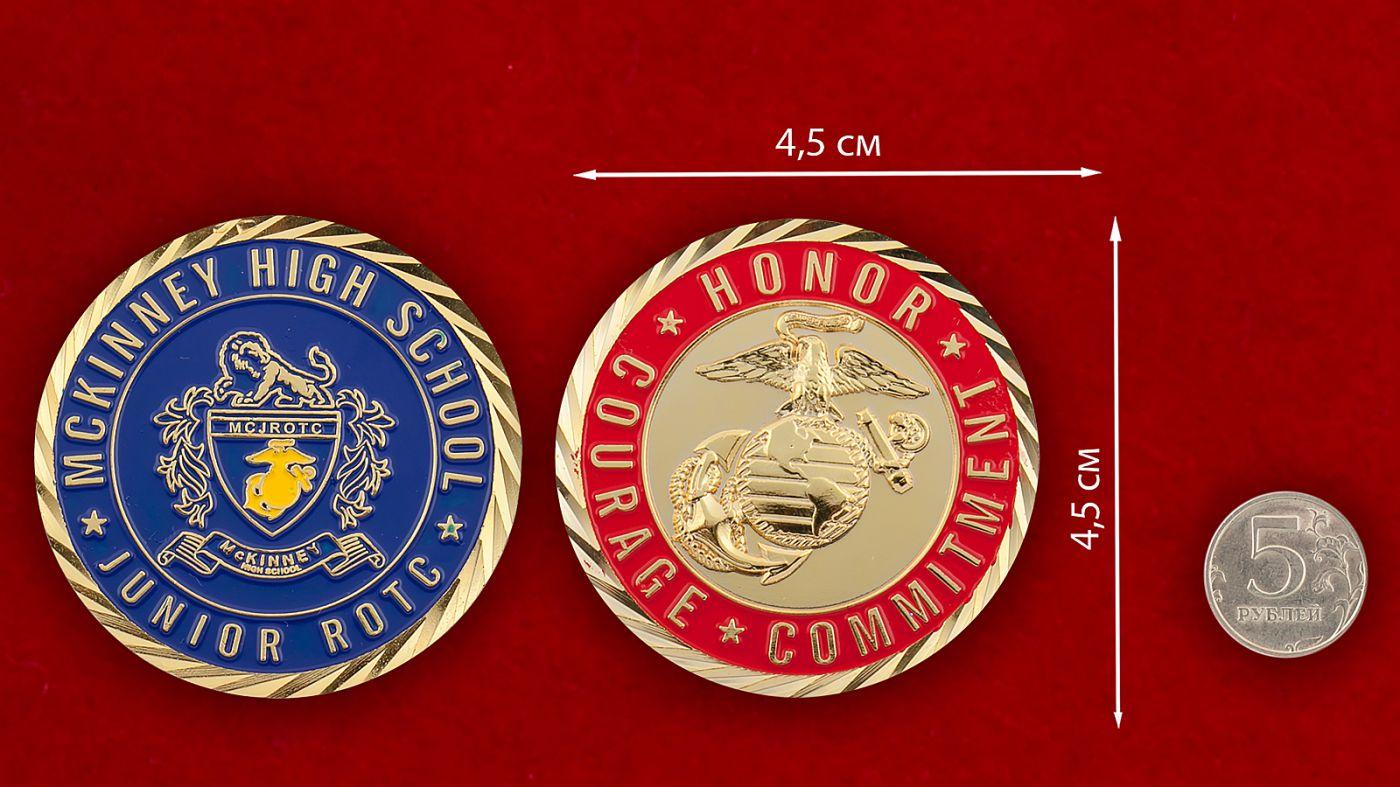 Челлендж коин Школы подготовки младших офицеров резерва Корпуса Морской пехоты США - аверс и реверс
