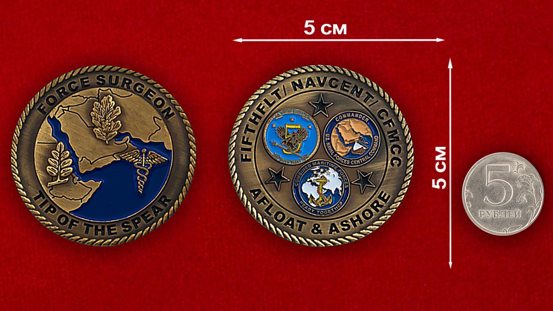 Челлендж коин Сил специальных операций США - сравнитедьный размер