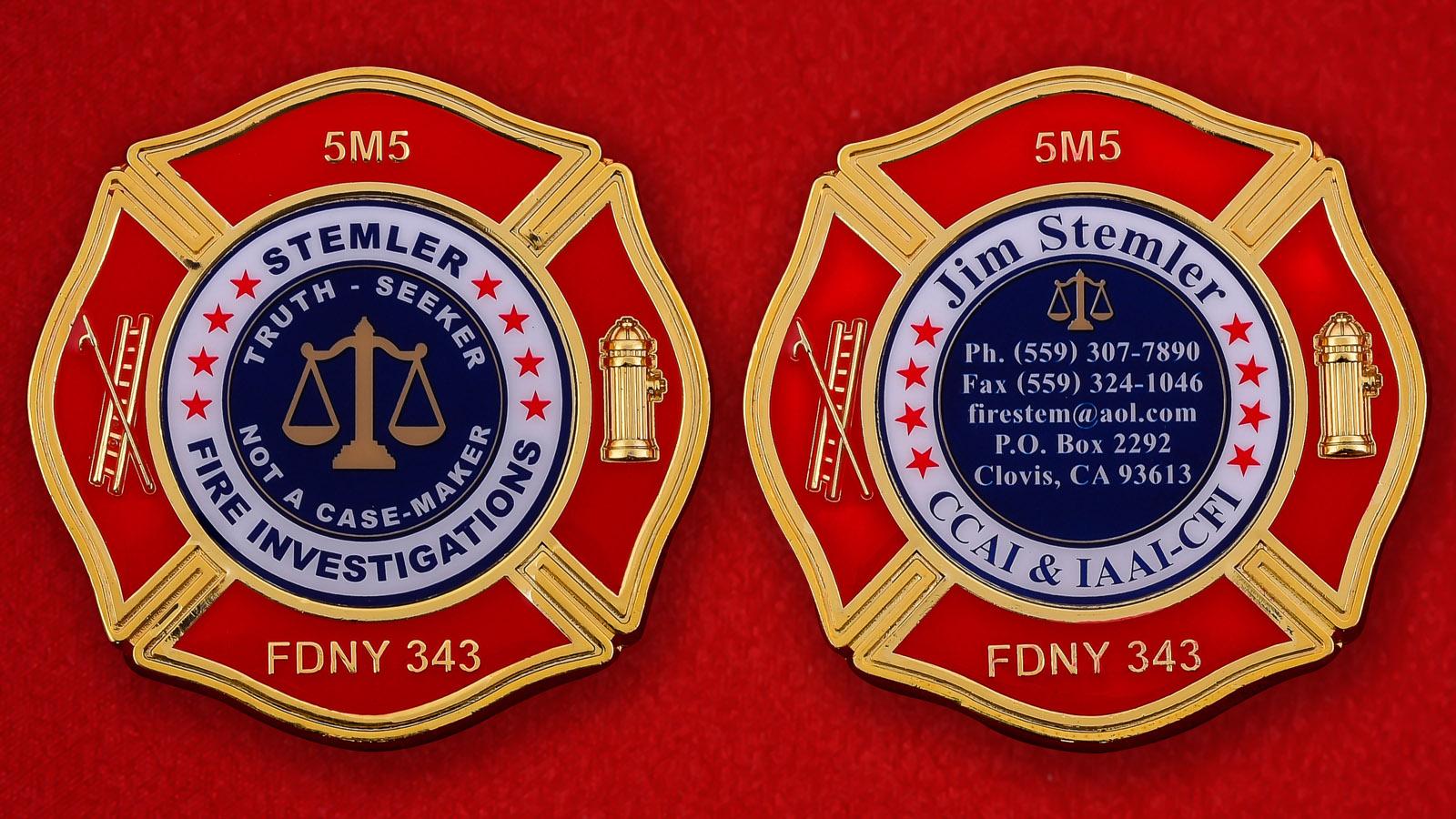 """Челлендж коин """"Следователь Департамента Пожарной охраны Нью-Йорка Джим Стемлер"""""""