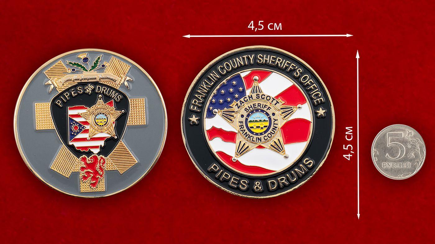 """Челлендж коин """"Служба шерифа аэропорта Франклин Каунти"""" - сравнительный размер"""