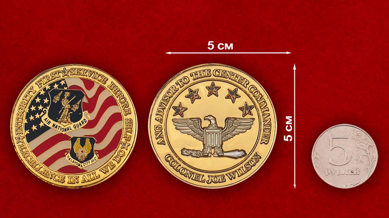 Челлендж коин Службы материально-техничскокого обеспечения авиации Нацгвардии штата Оклахома - сравнительный размер