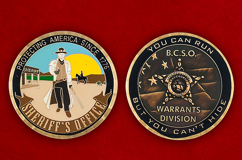 Челлендж коин Службы шерифов США - аверс и реверс