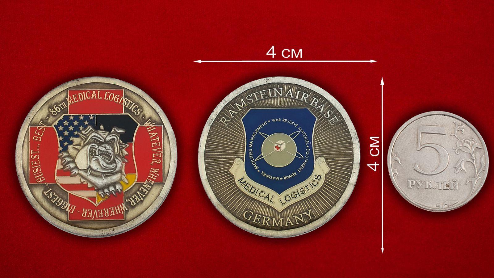Челлендж коин службы снабжения 86-й Медицинской группы, авиабаза Рамштайн, ФРГ - оборотная сторона