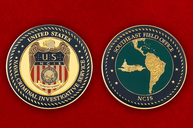 Челлендж коин Службы уголовного розыска ВМС США - аверс и реверс