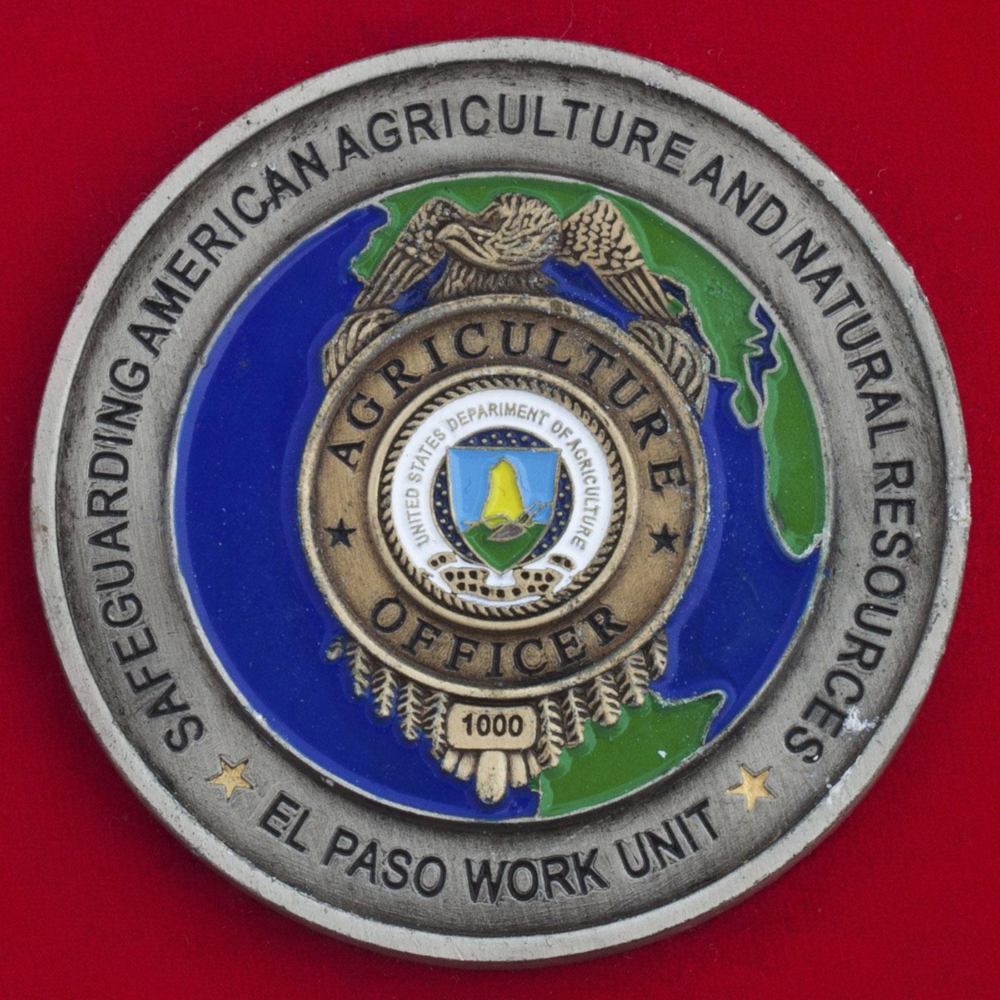Челлендж коин сотрудников Министерства сельского хозяйства и природных ресурсов США в Эль-Пасо, Техас