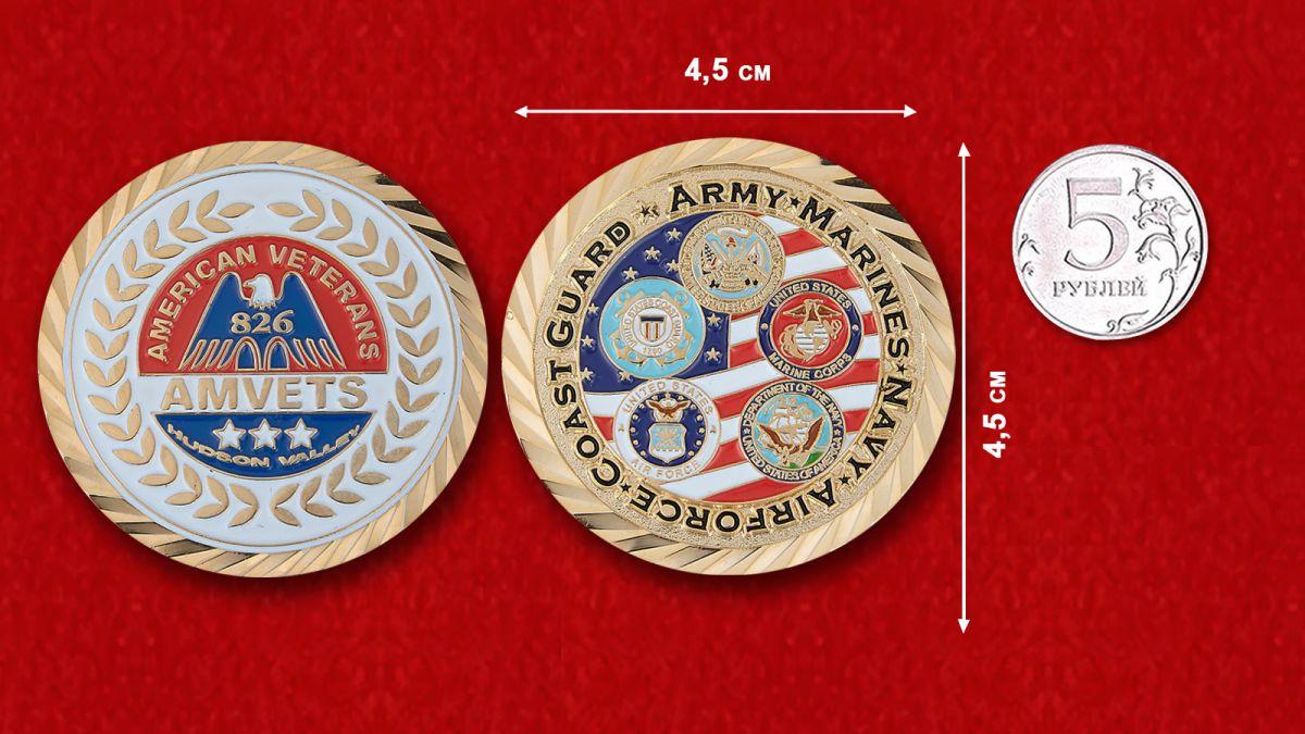 Челлендж коин Союза американских ветеранов Второй Мировой войны - сравнительный рзмер