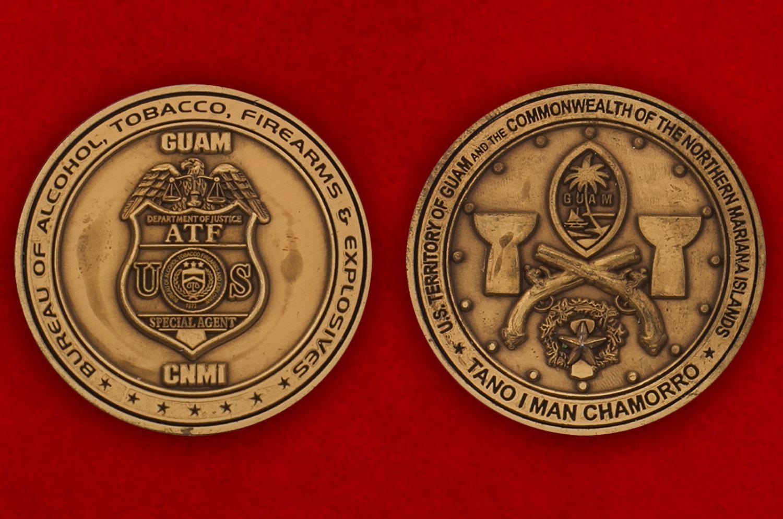 Челлендж коин спецагента Министерства юстиции США на Гуаме - аверс и реверс