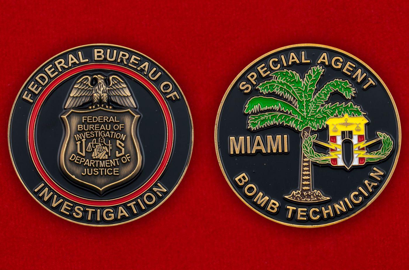 Челлендж коин спецагента по обезвреживаню взрывоопасных веществ отделения ФБР в Майами - аверс и реверс