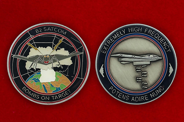 Челлендж коин спутников наведения бомбардировщиков ВВС США - аверс и реверс