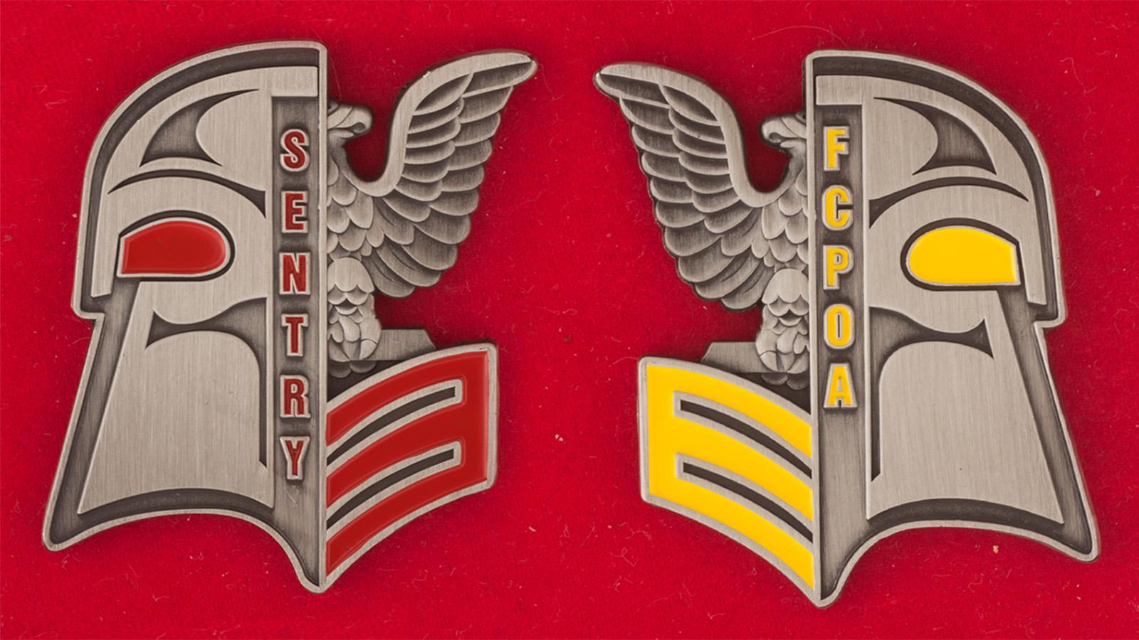 Челлендж коин старшин первого класса минного тральщика ВМС США Sentry - аверс и реверс