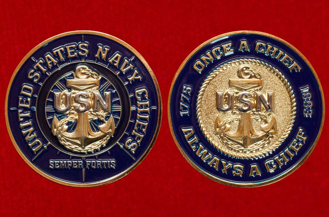 Челлендж коин старшинского состава ВМС США Старшин бывших не бывает
