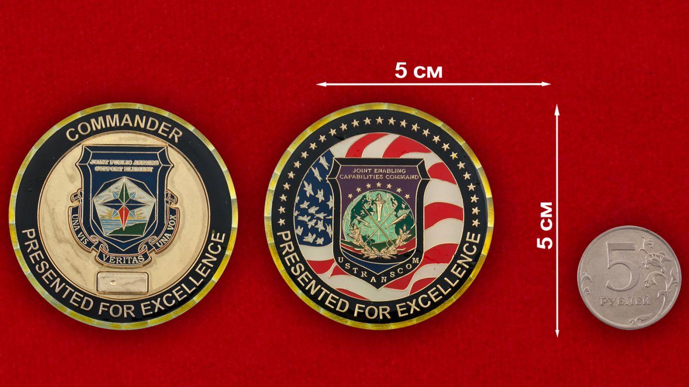 Челлендж коин Стратегического командования ВС США - сравнительный размер