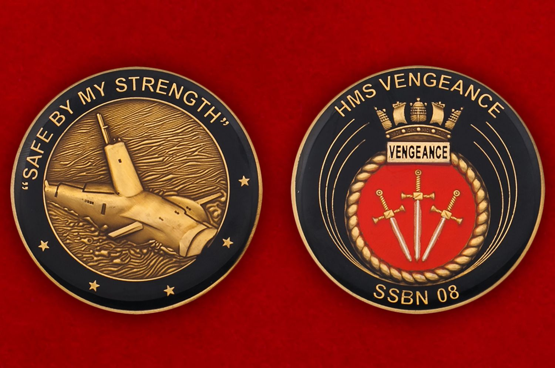 Челлендж коин субмарины «Вендженс» ВМС Великобритании - аверс и реверс