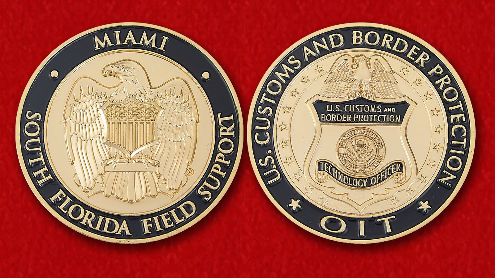 """Челлендж коин """"Таможня и Пограничная охрана США в Майами"""" - аверс и реверс"""