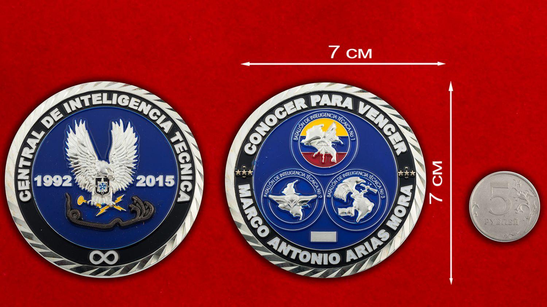 Челлендж коин Технического центра разведки Армии Испании - сравнительный размер