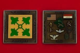 """Челлендж коин целевой группы 4-й пехотной дивизии Армии США за операцию """"Новая заря"""" в Ираке"""