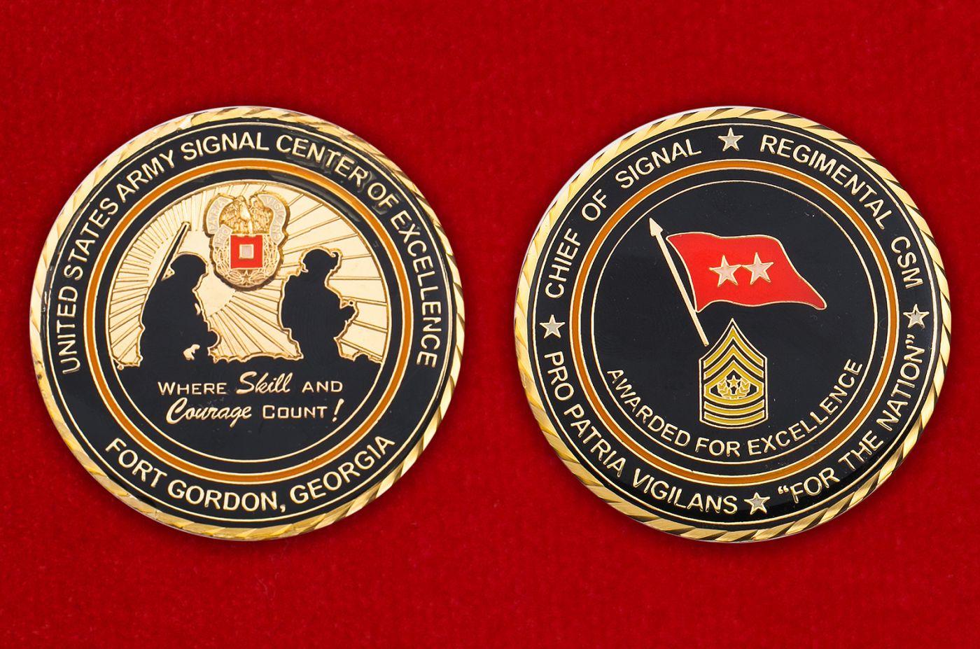 Челлендж коин Центра подготовки военных связистов в Форте Гордон, Джорджия - аверс и реверс