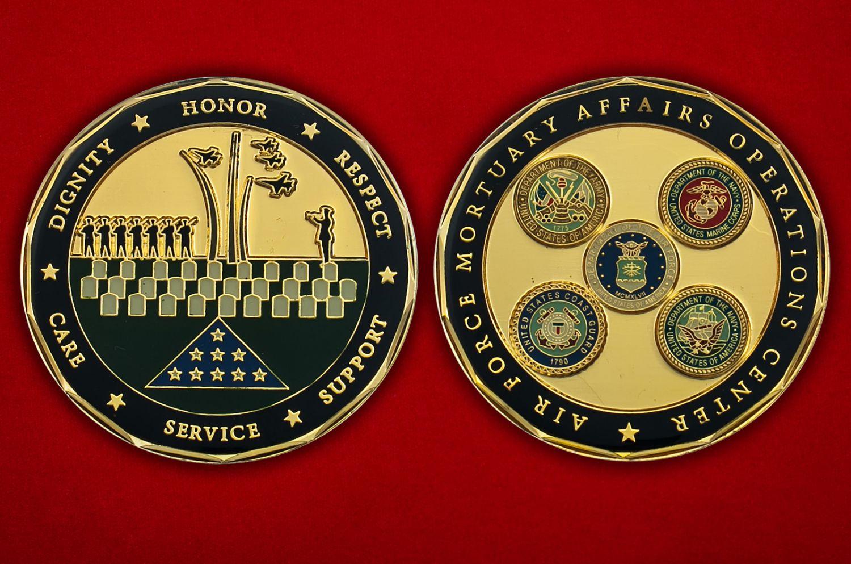 Челлендж коин Центра ритуальных услуг ВВС США - аверс и реверс