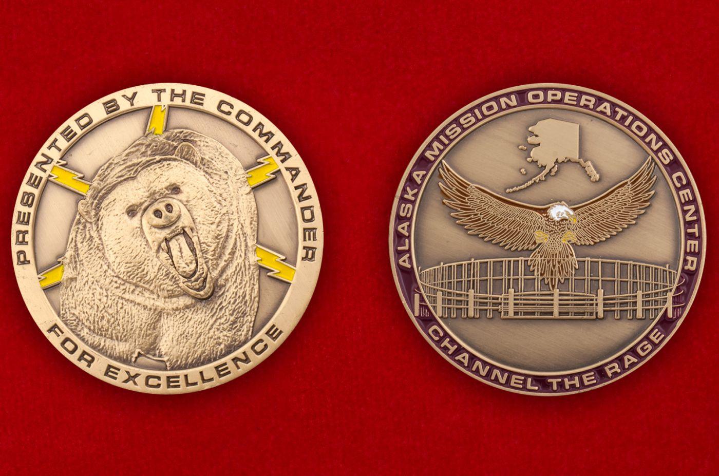 Челлендж коин Центра Управления полетами ВВС США на Аляске - аверс и реверс