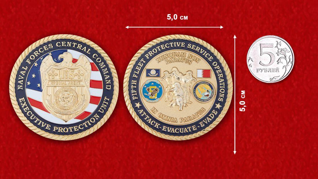 Челлендж коин Центрального командования ВМС США - сравнительный размер