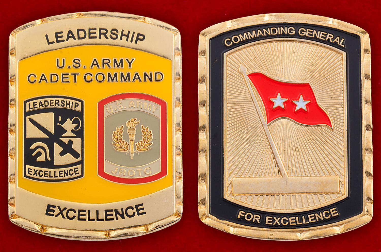 Челлендж коин участников программы школы по вневойсковой подготовке младших офицеров Армии США - аверс и реверс