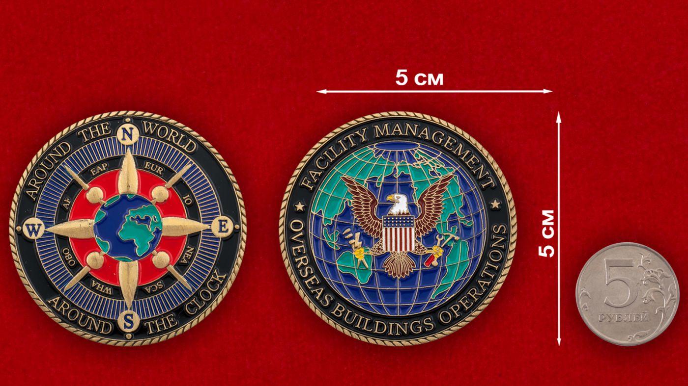 Челлендж коин Управления представительскими оъектами США за рубежом - сравнительный размер