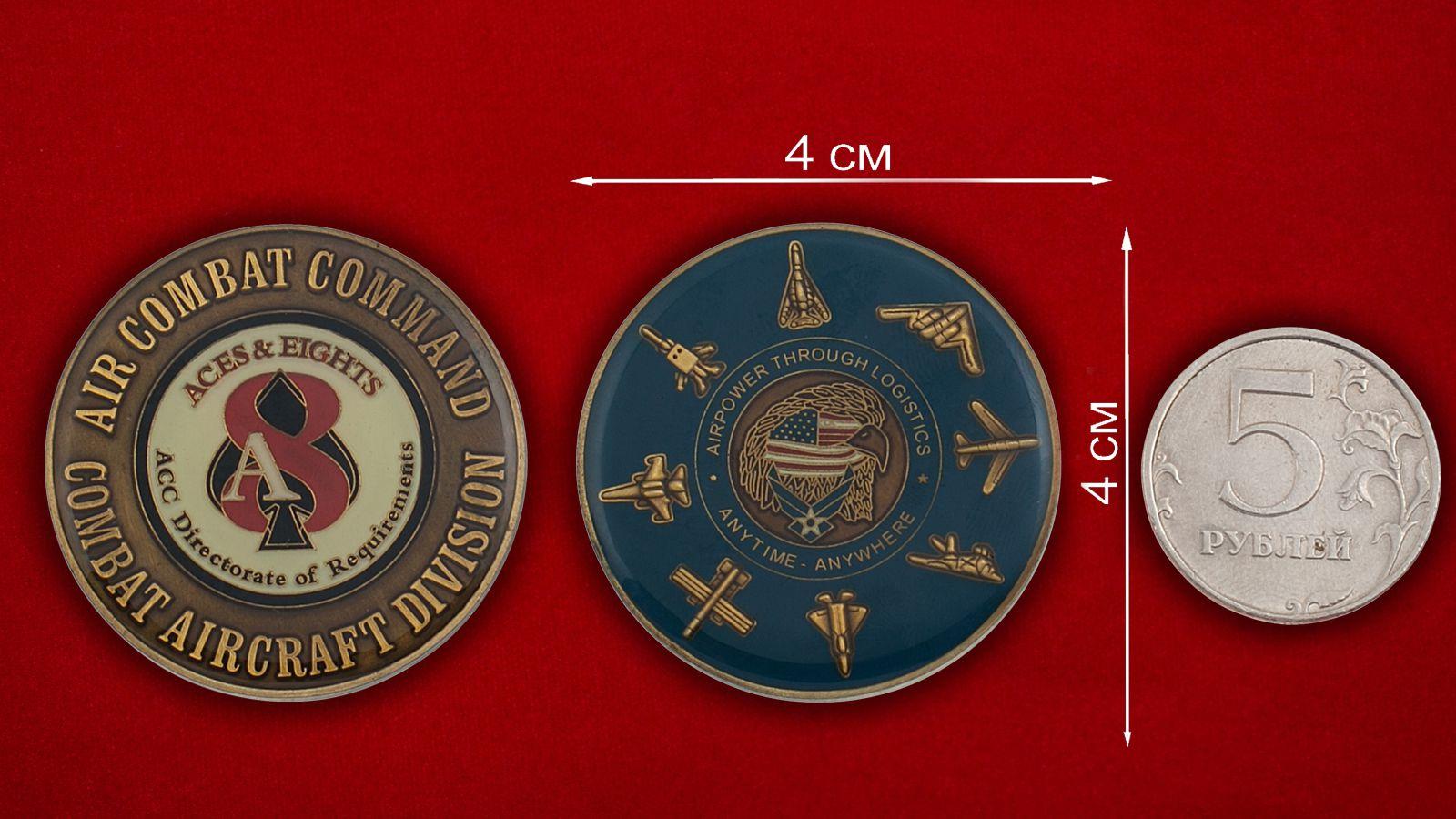 Челлендж коин Управления снабжения Боевого авиационного командования ВВС США - сравнительный размер