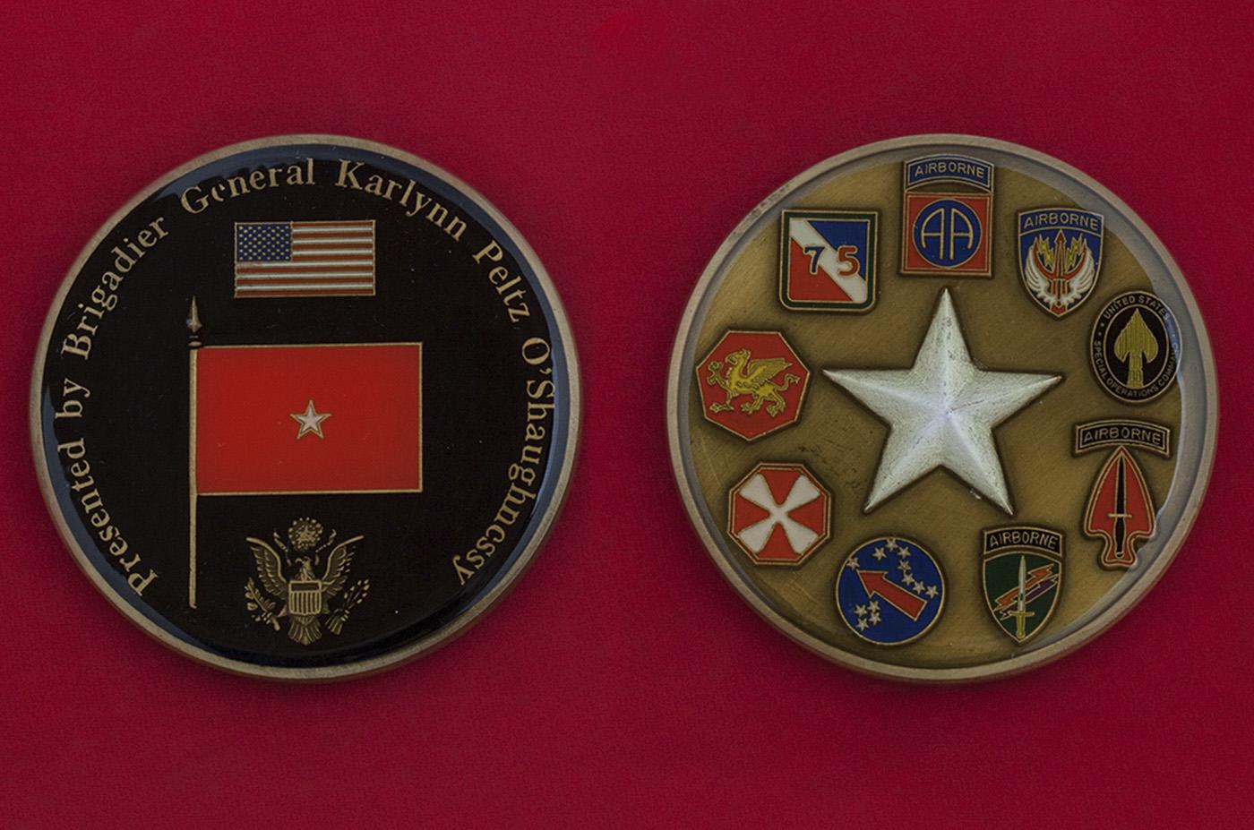 Челлендж коин в честь выхода в отставку бригадного генерала Армии США Карлин О'Шонесси