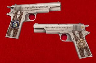 Челлендж коин в виде пистолета Colt 1911 к 100-летию полиции штата Нью-Йорк