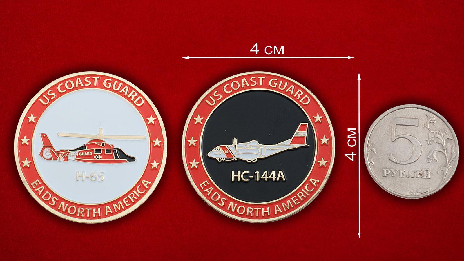 Челлендж коин Береговой охраны США - сравнительный размер