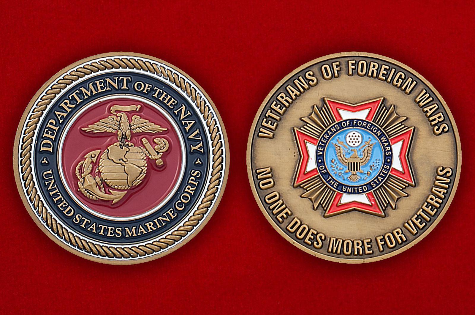 Челлендж коин ветеранов зарубежных войн Корпуса Морской пехоты США - аверс и реверс