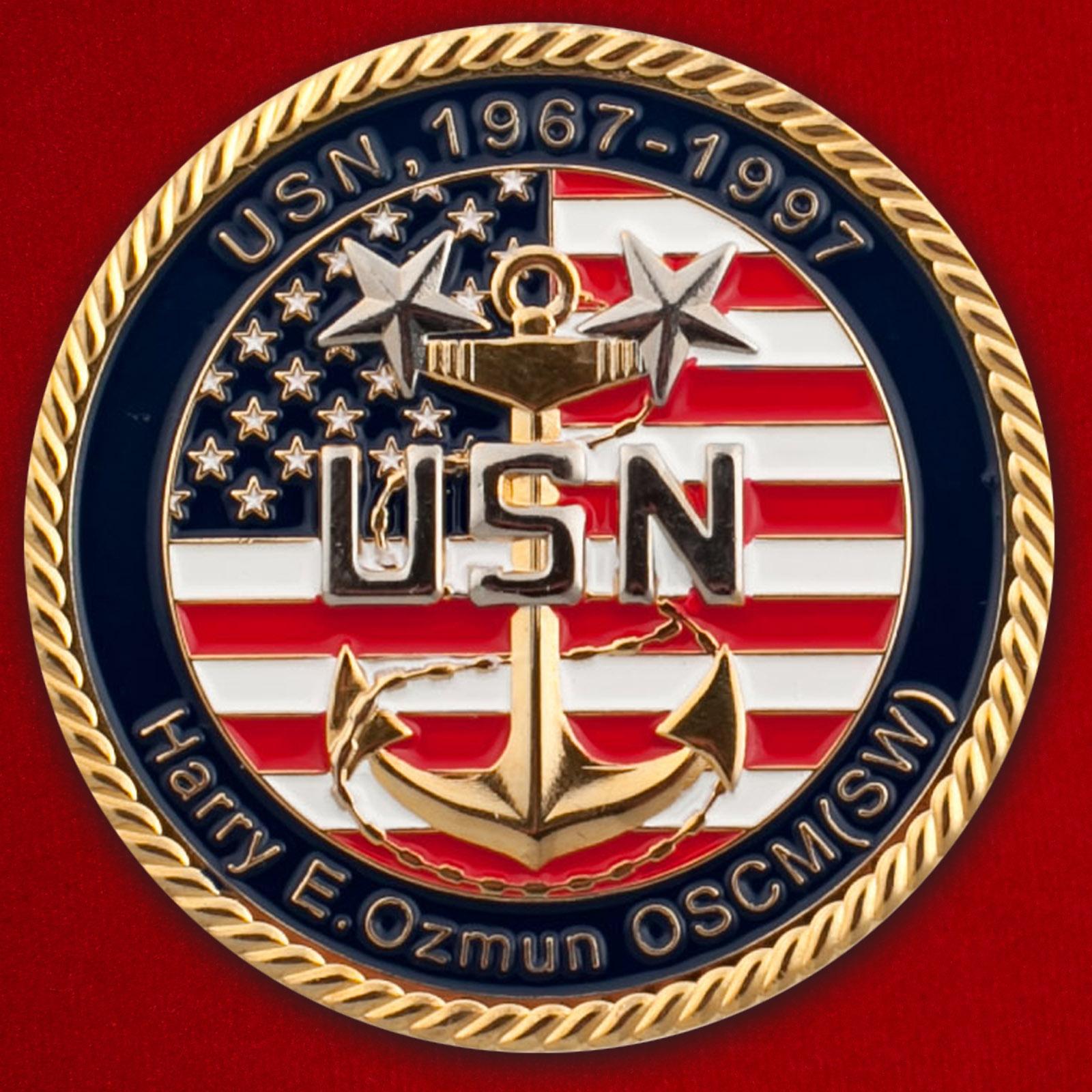 "Челлендж коин ВМС США ""Медаль за службу во Вьетнаме. Памяти Гарри Озмана"""