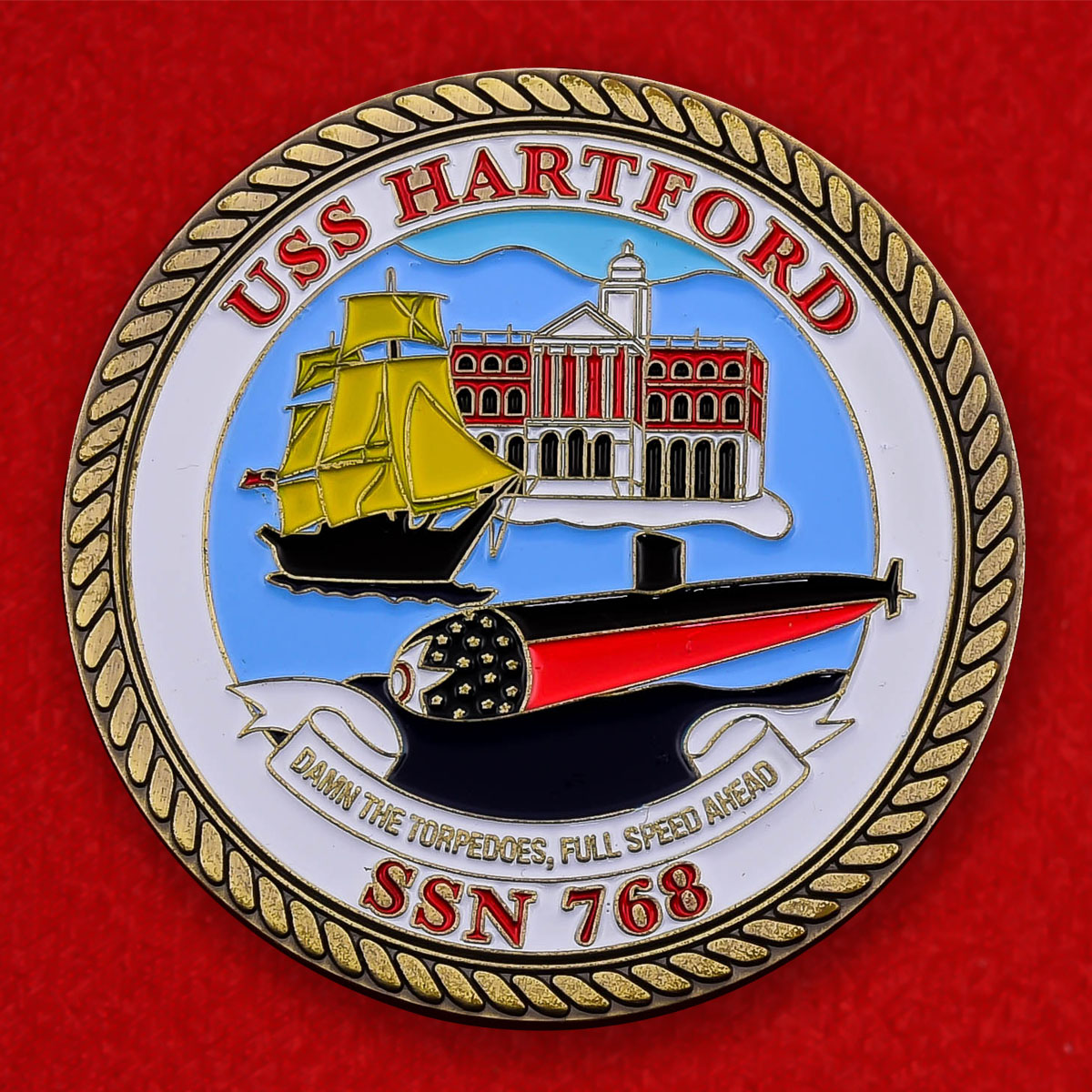 """Челлендж коин ВМС США """"Многоцелевая атомная подводная лодка Хартфорд"""""""
