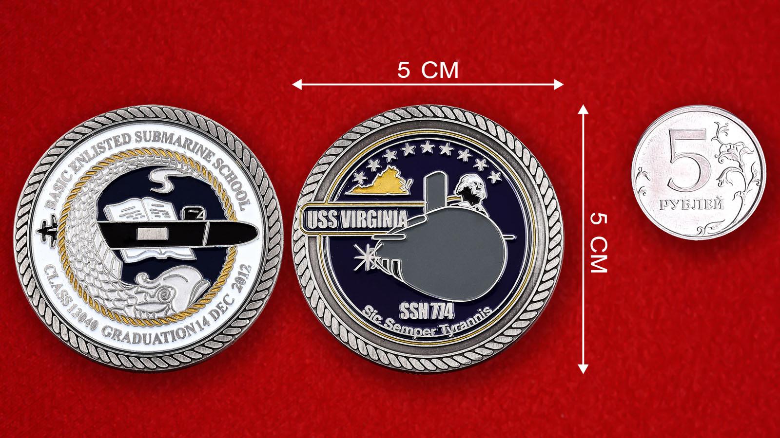 """Челлендж коин ВМС США """"Многоцелевая атомная подводная лодка """"Вирджиния"""" SSN-774"""""""
