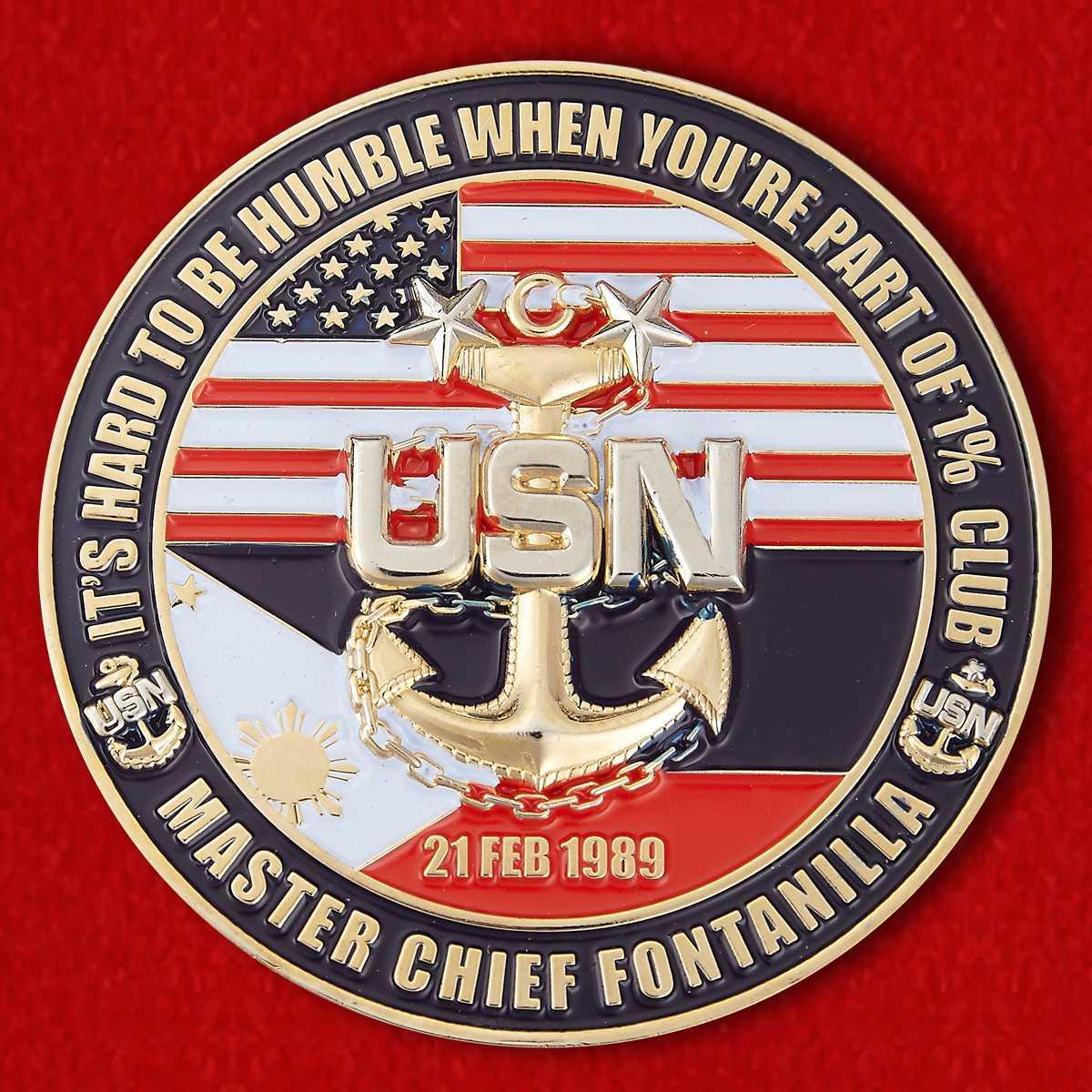 """Челлендж коин ВМС США """"От cпециалиста по персоналу главного корабельного старшины Фонтанилла"""""""