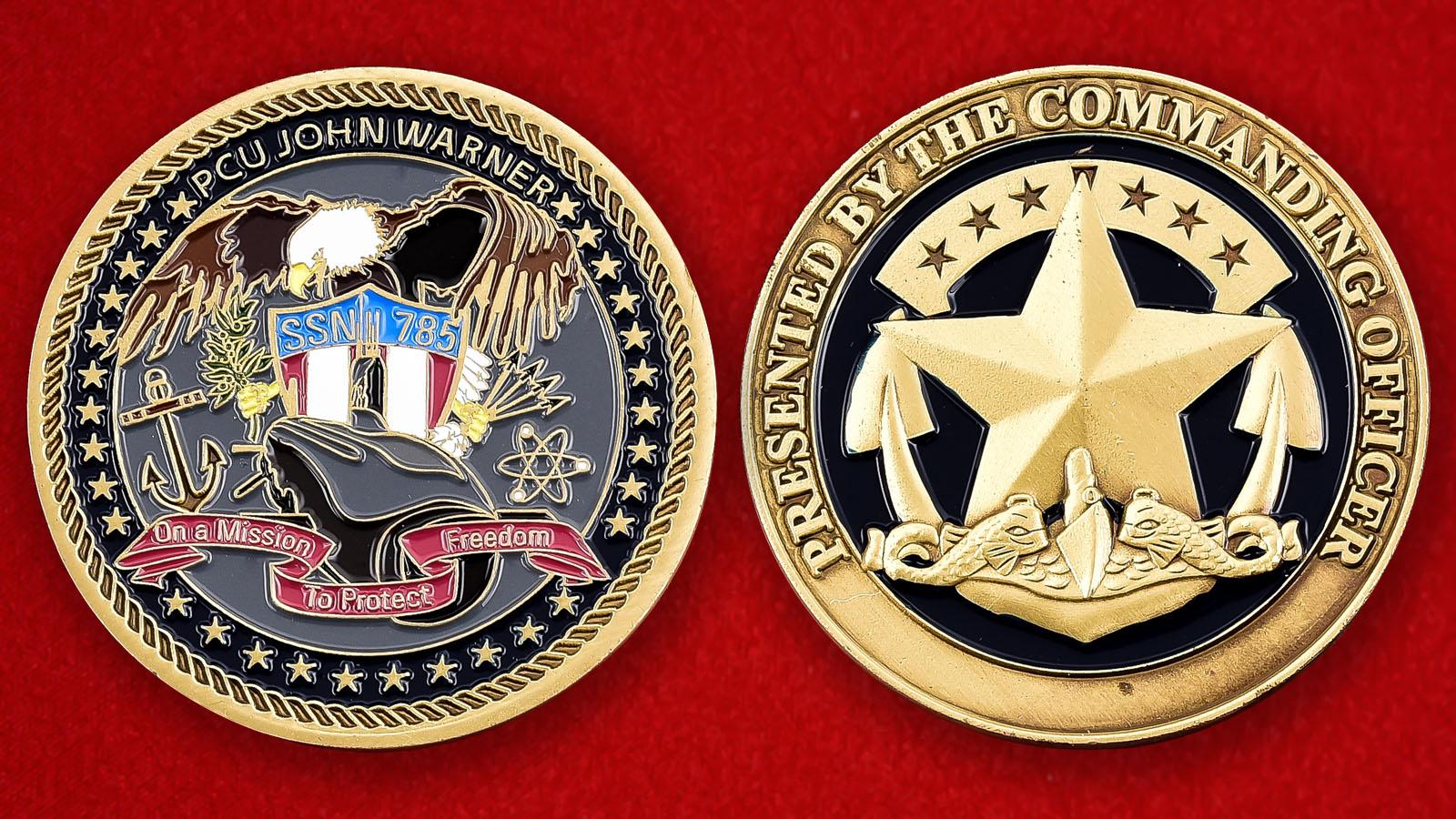 "Челлендж коин ВМС США ""От командира подводной лодки Джон Уорнер"""