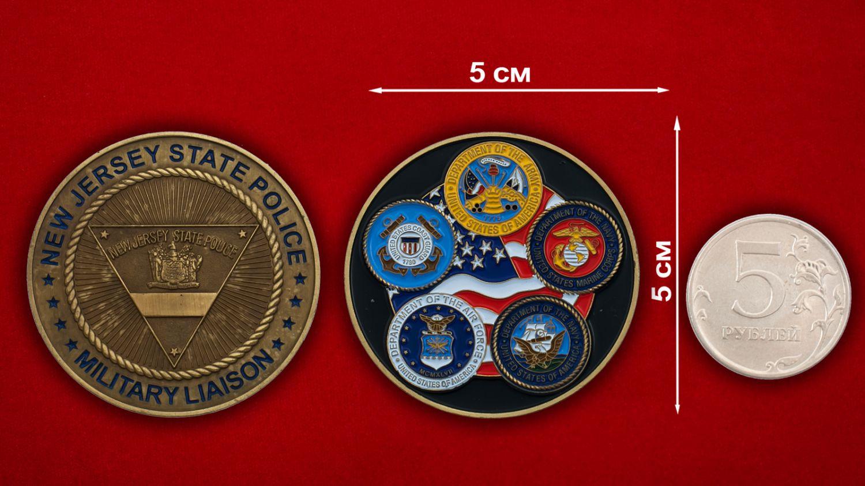 Челлендж коин Военной полиции штата Нью-Джерси - сравнительный размер
