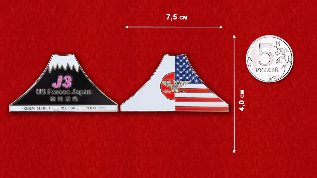Челлендж коин ВС США в Японии - сравнительный размер