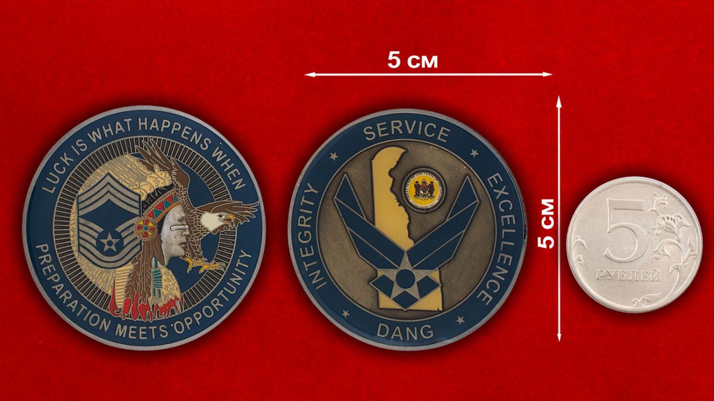 Челлендж коин ВВС Нацгвардии США (Штат Делавер) - сравнительный размер