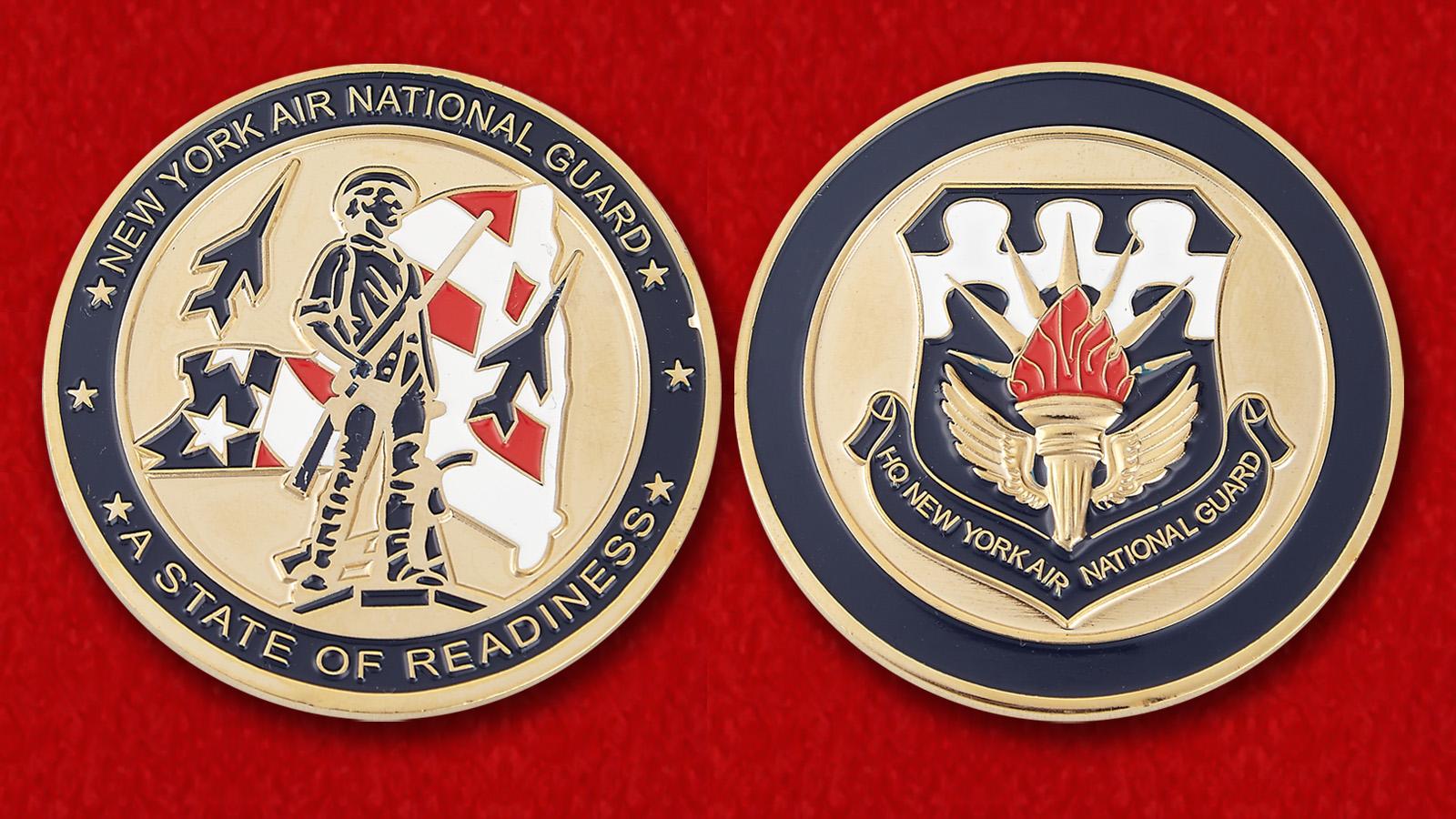 """Челлендж коин """"ВВС Национальной гвардии штата Нью-Йорк"""" - аверс и реверс"""