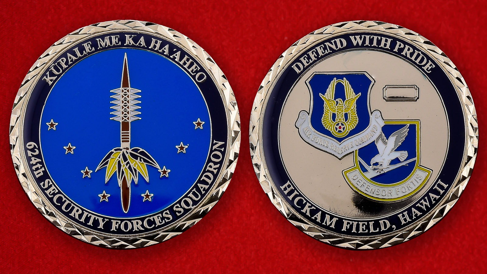 "Челлендж коин ВВС США ""624-й отряд охранения авиабазы Хикэм, Гавайи"""