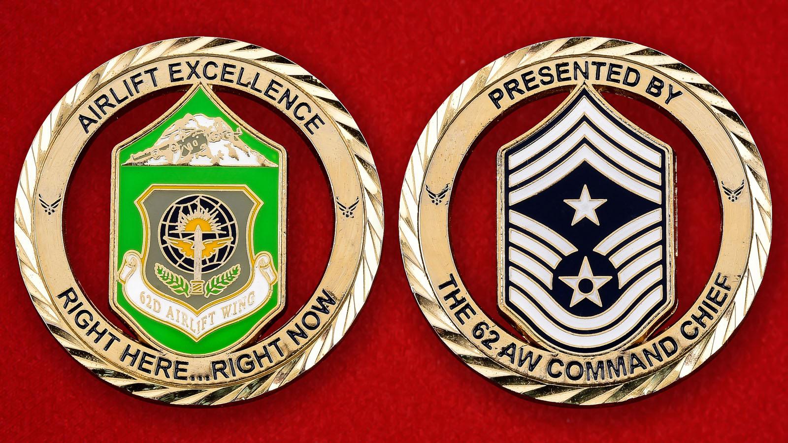"""Челлендж коин ВВС США """"От командира 62-го крыла"""""""