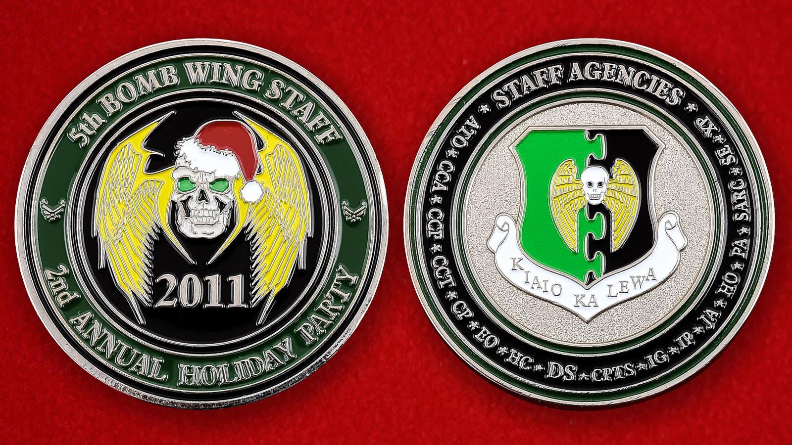 """Челлендж коин ВВС США """"Персоналу 5 крыла стратегических бомбардировщиков к Рождеству"""""""