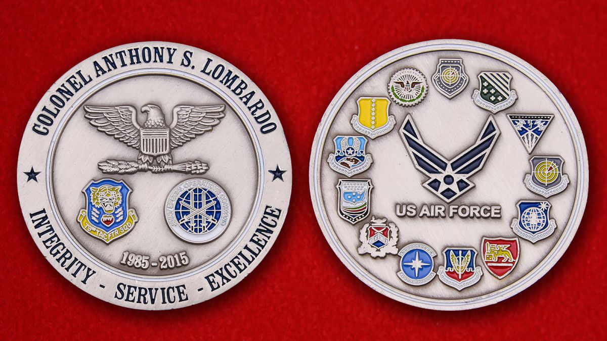 """Челлендж коин ВВС США """"Полковнику Энтони С. Ломбардо"""" - аверс и реверс"""