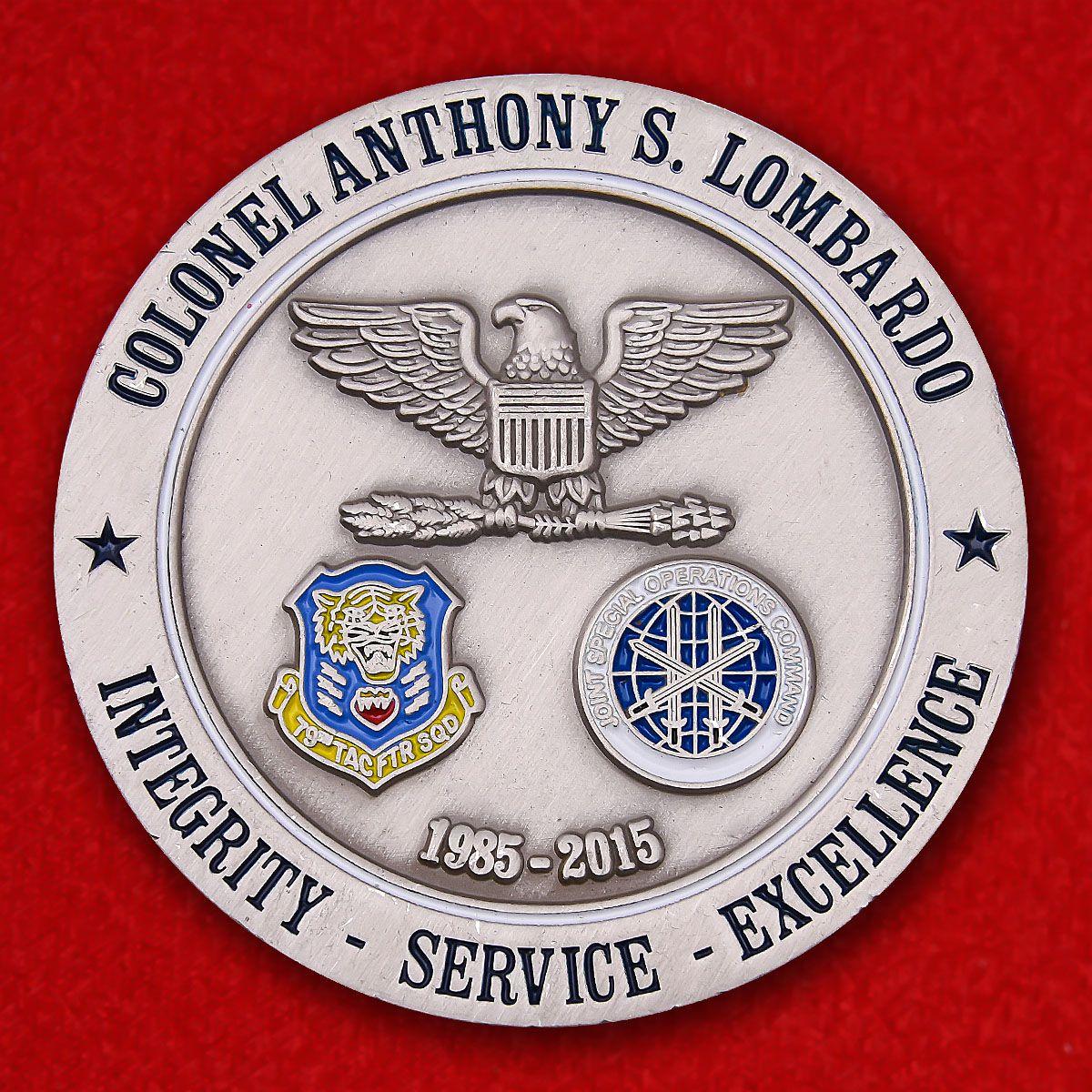 """Челлендж коин ВВС США """"Полковнику Энтони С. Ломбардо"""""""